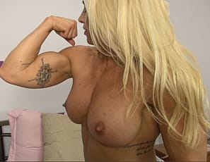 In a virtual session in her bedroom, female bodybuilder Jill Jaxen demonstrates her Muscle Control by doing some Pec bounces for you, poses nude in high-heeled shoes, showing off her ripped abs, vascular biceps, strong glutes and legs, and her tattoos, then gives...