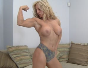 Yvonne's had a long day, and her muscles are tired, so she's posing, playing with her panties, and stroking her powerful pecs, biceps, abs, legs, glutes and calves while she's wishing someone would come to her bedroom to give her a massage. Any volunteers?