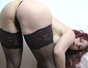 Sexy fit redhead Andrea knows she's hot and she loves showing off her big tits, long legs, and ample ass - especially when she gets to wear stockings and high heels. Touching herself starts to get Andrea really turned on - as you'll see. What happens next?