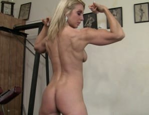 the muscles of her pecs, legs and glutes