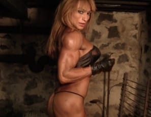 Female bodybuilder Karina is ripped everywhere but her tiny panties, her thigh-high boots and her tattoo. From her vascular biceps and abs to her powerful pecs, legs, and glutes, you'll enjoy every defined muscle as she poses for you.