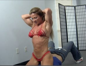 Is Maria G stronger than a man? When she wrestles him, chokes him and smothers him with her muscular legs, glutes and calves, also using the strong, vascular muscles of her biceps, pecs and abs – and does it all in high-heeled shoes, until he begs for mercy –...