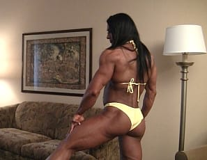 Female bodybuilder Alina Popa loves to show of her amazing quads and glutes. Of course the rest of her is just as ripped and vascular and you're in for a real treat when she shows off her muscle control with a pec bounce and what can only be described as a display...