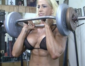 Tattooed  female bodybuilder Jill Jaxen works her muscular legs, glutes, and  vascular biceps in the gym, then poses in panties to show off her powerful pecs and ripped abs. I don't know about you, but I'm ready for a shower, she says. Are you?