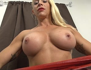 Female bodybuilder Jill Jaxen welcomes you back into her room. She knows she'll punish you, but you just can't stay away. You long to worship Jill's vascular biceps, hard abs, and big pecs. Blonde hair, sexy tattoos, and a killer body - Jill Jaxen has it all!
