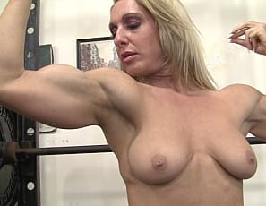 Female Bodybuilder Tanya shows you how she trains her muscular pecs, legs, glutes, biceps, and abs in the gym, then gets naked to pose for you. You'll like the view.