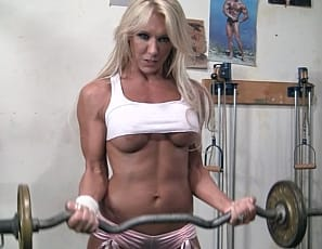 In the gym, Samantha poses for you, showing you her muscular biceps and pecs, giving you a look at her tattooed glutes, taking off her panties so you can see her naked ass, and showing you her pretty kitty close up and how she'd scissor you with her strong legs....