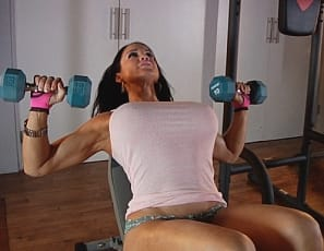 Female bodybuilder Samantha Kelly is in the gym, posing in panties, showing off her pec flexes and muscle control and her muscular legs, biceps, and abs. You won't want to miss a bounce.