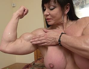 Female bodybuilder Ripped Princess poses for you in the bedroom in panties. showing off the vascular muscles of her biceps, pecs, legs, and glutes, and her ripped abs.  No rescue required for this princess.