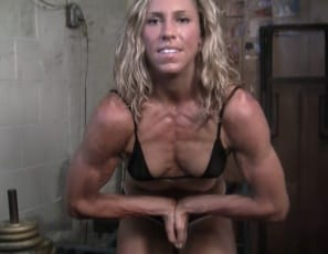 Denise is showing you how she works her muscular legs and glutes