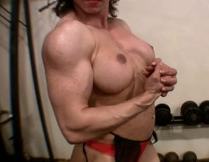 Female bodybuilder Alexis B is working out in the gym to get her hard, mature muscles even bigger, working her biceps and posing to show you how vascular and ripped they are, and how strong her pecs, abs and legs are. I'm really strong, she boasts.  Don't you...