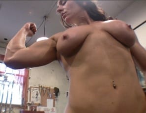 Female bodybuilder Andrea G does bench presses in the gym to build her powerful pecs, then poses naked to show you how good they look, and how strong her muscular legs, glutes, calves, biceps and abs are. Isn't she pec-tastic?