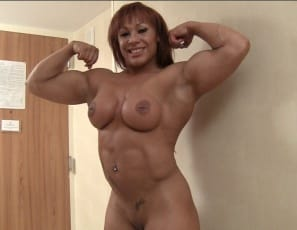 Tattooed, pierced female bodybuilder Rita is enjoying posing in front of the mirror nude in nothing but ultra-high heels, and worshiping and her own muscular biceps, pecs, legs, glutes, calves,  and  abs. I'm feeling the pump, she says. Bet you are too.