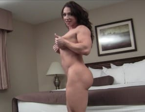 There's nothing sexier than a thick muscle girl, female bodybuilder BrandiMae says, posing for you in the bedroom and showing you her powerful pecs, vascular biceps, ripped abs, then taking off her Panties to show you her muscle control of her thick legs, glutes...