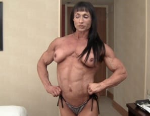Ripped female bodybuilder ironfire works out and poses 4