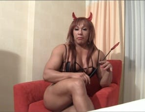 Ripped female bodybuilder Rita is feeling devilish. She's posing for you, taking off her red panties, and getting naked so you can see all the big, powerful muscles in her muscles in her pecs, legs,  glutes, calves,  biceps and  abs, then taunting you and telling...