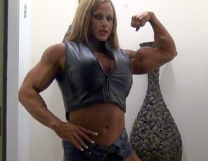 In your virtual session with female bodybuilder Nuriye, she poses to show you how ripped and vascular her biceps are, how powerful her pecs are, how massive her legs and calves are, and her muscle control.