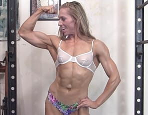 Muscular blonde Denise is working out in the gym wearing her bra and panties - showing off her hard earned vascular biceps and ripped abs. She decides she needs to take off her bra so that we can better see her lovely pecs and powerful back muscles. We're certainly not complaining.
