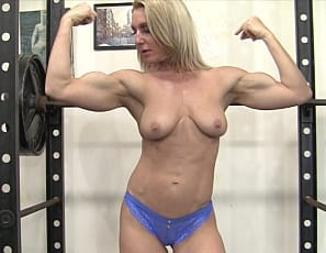 Female Bodybuilder Tanya shows you how she trains her muscular pecs