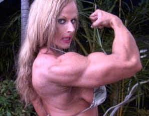 showing you her muscle control of her powerful pecs