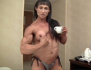 Professional female bodybuilder Tazzie Colomb